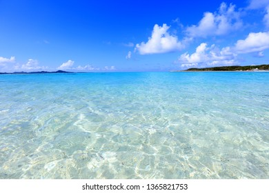 Blue sky and clear sea.