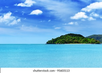 Blue sky and clear water at Langkawi beach, Malaysia.