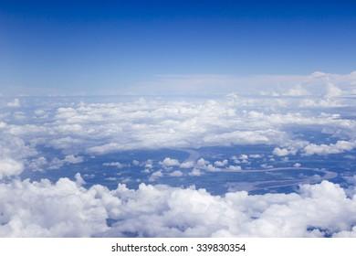 blue sky with cloud, a lot of cloud.