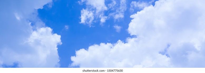 Blue sky with cloud background banner