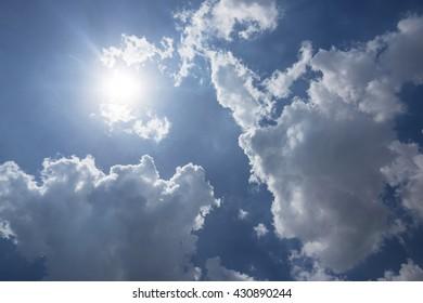 blue sky and cloud highlight sun