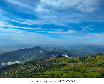 blue sky and cloud at Khao Kho, Phetchabun, Thailand,view at Phu Tub berk ,Phetchabun Province ,Thailand.