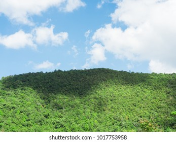 blue sky and cloud on green mountain