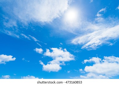 blue sky with cloud and sun