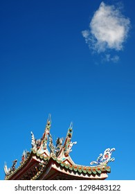 Blue Sky, Cloud and Temple's Rooftop