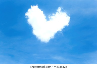 Blue sky and cloud white heart.