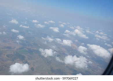 blue sky and clouds ,Advantages of sitting near window In the plane High angle view.