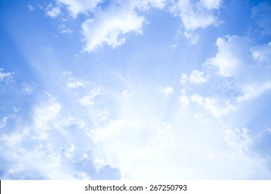 Blue sky with clouds background.  On a Sunshine day.