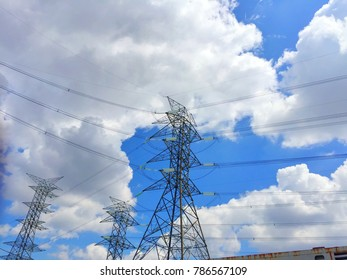 blue sky with clouds and electric fountains
