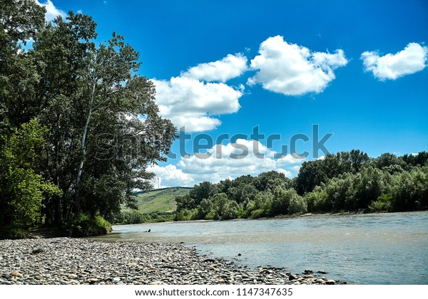 blue sky with clouds, the Kuban River North Caucasus Stavropol Region