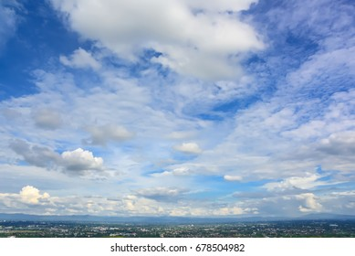 blue sky and clouds over chiang mai  city at view point, Thailand.