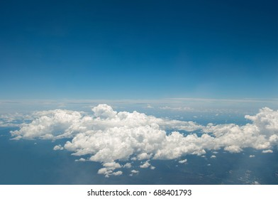 blue sky with the clouds from the plane view, Sky cloud top view, Beautiful cloud pattern in the sky
