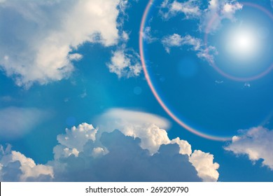 Blue sky and clouds with Rainbow Around the Sun.