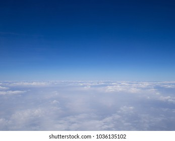Blue sky clouds seen from airplane beautiful with blue sky background nature.