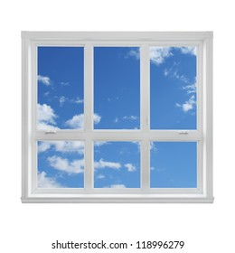 Blue sky with clouds seen through the window.