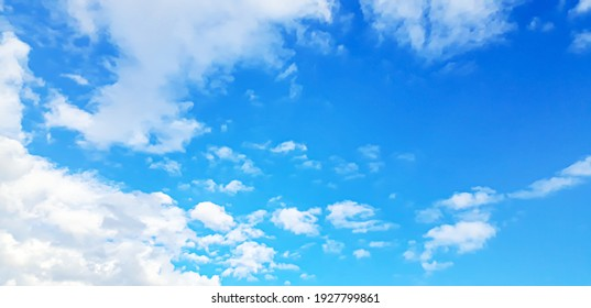 Blue sky with clouds selective focus nature