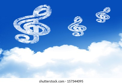 blue sky with clouds and some music notes