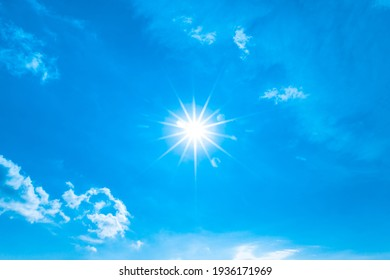 Blue sky with clouds and sun natural background