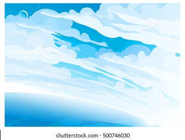 blue sky with clouds, sunshine and horizon. realistic landscape