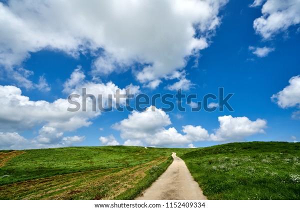 The Blue Sky And The Clouds Of The Unsan Farm, Seosan, In Korea