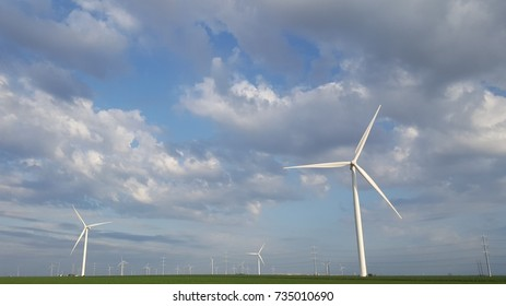 Blue Sky and Clouds with Wind Turbine