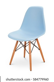 Blue, sky color chair, modern designer. Chair isolated on white background. Series of furniture
