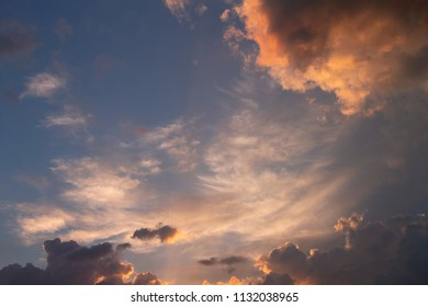 Blue sky with  colorful clouds after rain