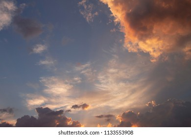 Blue sky with colorful clouds at sunset