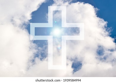 Blue sky with a cross and light