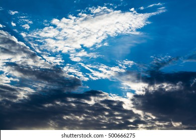 Blue sky with curly clouds - Shutterstock ID 500666275