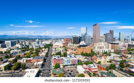 Blue Sky in Denver ,Colorado skyline cityscape in the capital cities downtown city view from aerial drone on bright sunny afternoon in summer Panoramic Panorama