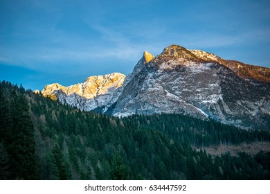 Blue sky, granite snowy mountain and green pine forest.