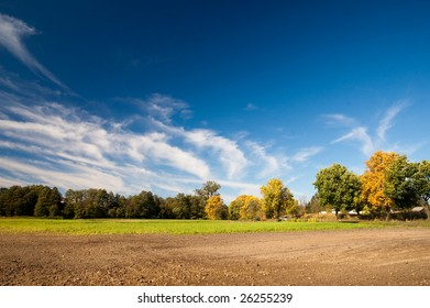 blue sky and green grass in the poland