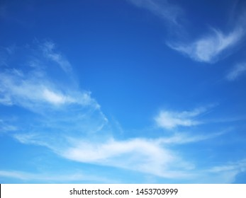 Blue sky Has a beautiful white cloudy mass With copy space.