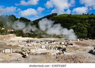 Blue Sky Landscape Volcano Caldera Hot Springs Fumaroles in Furnas, Sao Miguel, Azores, Portugal