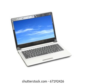 blue sky in laptop isolated on white background(sky is my photo)