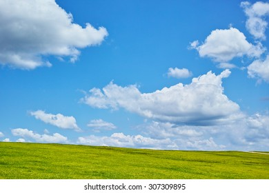 Blue sky and lawn in sunny weather