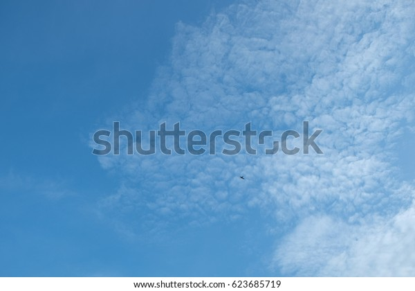 Blue sky and most cloudy