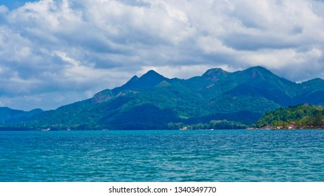 The blue sky with mountain and sea for summer at Puket,Thailand.