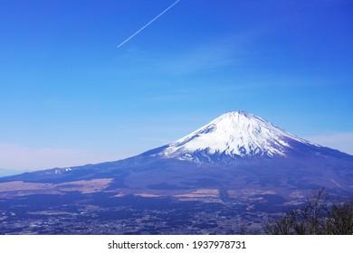 blue sky and Mt. Fuji