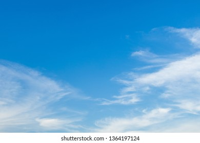 Blue sky nature clear view with white clouds and copyspace on top left.