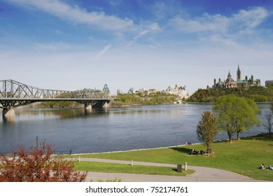 Blue sky with Ottawa River, Alexandra bridge, Ottawa Chateau, Ontario, Canada