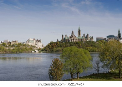 Blue sky with Ottawa River, Ottawa Chateau, Ottawa Parliament Hill with Library of Parliament, Ontario, Canada