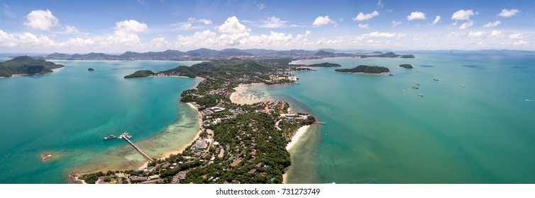 Blue Sky Over Cape Panwa In Phuket Province, Thailand, Panoramic Aerial Shot