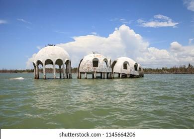 Blue sky over the Cape Romano dome house ruins in the Gulf Coast of Florida