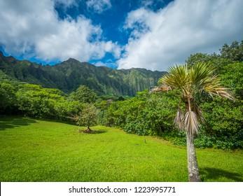 Blue sky over green montains. Koolau Mountains, Oahu, Hawaii