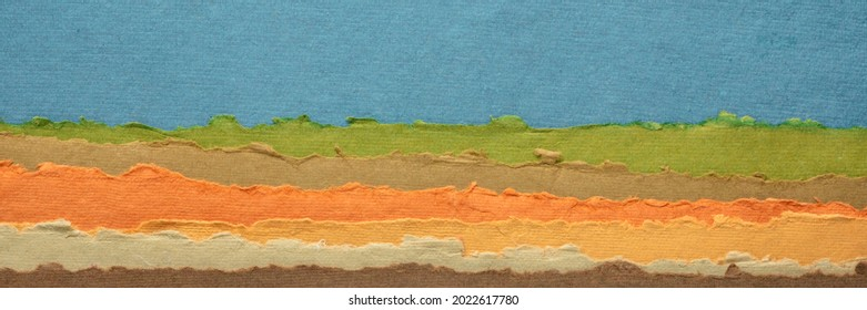blue sky over hills abstract landscape - a collection of colorful handmade Indian papers produced from recycled cotton fabric, panoramic web banner