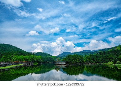 Blue sky over Lake Lulin, Lushan, China. UNESCO World Heritage Site. With its long history and rich culture, it has been served as a summer resort for many historical figures.