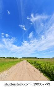 Blue sky over Poland fields