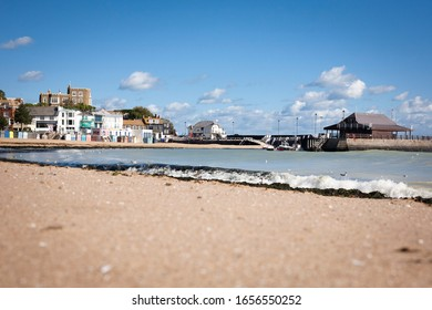 Blue sky over Viking Bay, Broadstairs, traditional seaside town, including pier cafe, harbour master's office and Bleak House, 21 September 2018. Lots of copy space